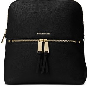 New Michael Kors Rhea Slim Black Leather Backpack